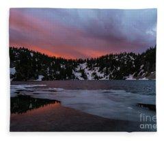 Snow Lake Icy Sunrise Fire Fleece Blanket