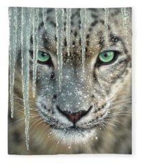 Snow Leopard - Blue Ice Fleece Blanket