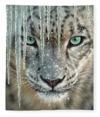 Snow Leopard - Blue Ice Fleece Blanket
