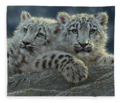 Snow Leopard Cubs Fleece Blanket