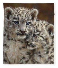 Snow Leopard Cubs - Playmates Fleece Blanket