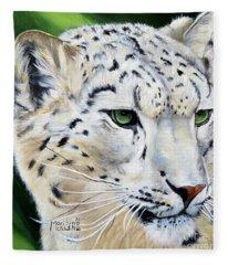 Snow Leopard Portrait Fleece Blanket