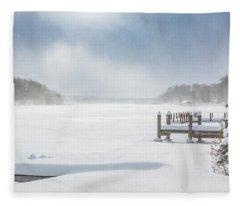 Snow On Lake Charlevoix Fleece Blanket