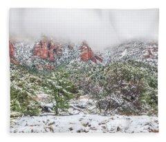 Snow On Red Rock Fleece Blanket