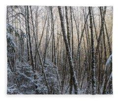 Snow On The Alders Fleece Blanket