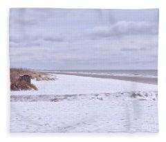 Snow On The Beach I Fleece Blanket