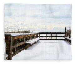 Snow On The Beach 5 Fleece Blanket