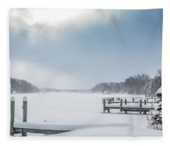 Snow On The Lake Fleece Blanket