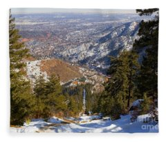 Snow On The Manitou Incline In Wintertime Fleece Blanket