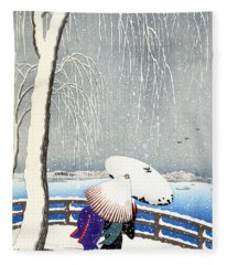 Snow On Willow Bridge By Koson Fleece Blanket