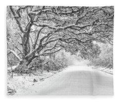 Snow On Witsell Rd - Oak Tree Fleece Blanket