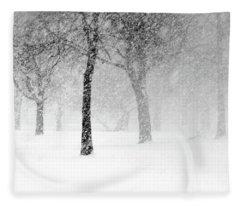 Snow Storm At Starved Rock Fleece Blanket