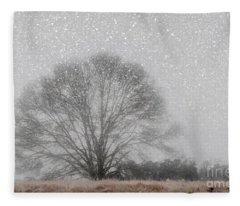 Snow Storm Tree Fleece Blanket