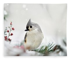 Fleece Blanket featuring the photograph Snow White Tufted Titmouse by Christina Rollo
