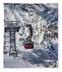 Snowbird Tram Portrait Fleece Blanket