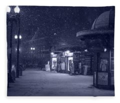 Snowfall In Harvard Square Cambridge Ma Kiosk Monochrome Blue Fleece Blanket