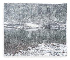 Snowfall On Williams River  Fleece Blanket