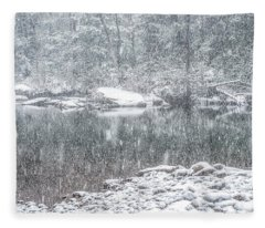 Snowfall On Williams River  Fleece Blanket