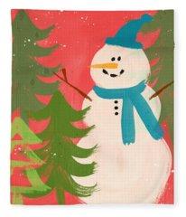 Snowman In Blue Hat- Art By Linda Woods Fleece Blanket