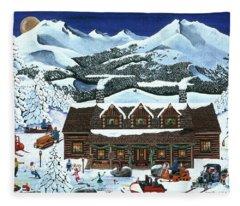 Snowmobile Holiday Fleece Blanket