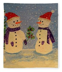 Snow-people At Christmas Fleece Blanket