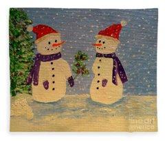 Snow-people At Christmas Fleece Blanket