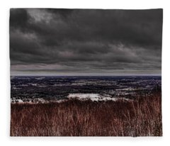 Snowstorm Clouds Over Rib Mountain State Park Fleece Blanket