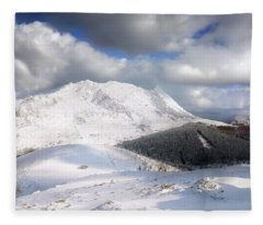 snowy Anboto from Urkiolamendi at winter Fleece Blanket