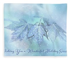 Snowy Baby Leaves Winter Holiday Card Fleece Blanket