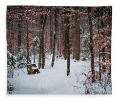 Snowy Bench Fleece Blanket