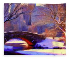 Snowy Central Park Fleece Blanket