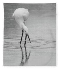Snowy Egret 5772-112717-2cr-bw Fleece Blanket