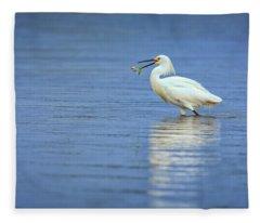 Snowy Egret At Dinner Fleece Blanket