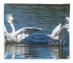 Snowy Egret Fight 3615-112317-1cr Fleece Blanket