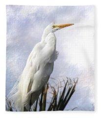 Snowy Egret Fleece Blanket