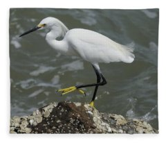 Snowy Egret Rock Walking Fleece Blanket