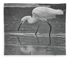 Snowy Egret Soft Reflection 5769-112717-3cr-bw Fleece Blanket