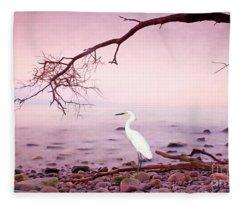 Snowy Egret Solitude Fleece Blanket