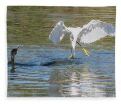 Snowy Egret Stealing Fish From Cormorant 5414-112617-2cr Fleece Blanket
