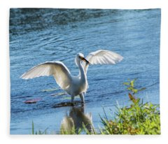 Snowy Egret With A Fish Fleece Blanket