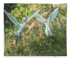 Snowy Egrets 0089-120417-1cr Fleece Blanket
