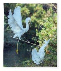 Snowy Egrets Dispute 9270-120317-2cr Fleece Blanket