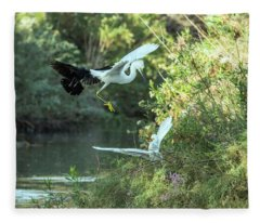 Snowy Egrets Dispute 9275-120317-1cr Fleece Blanket