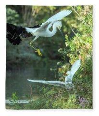 Snowy Egrets Dispute 9275-120317-2cr Fleece Blanket