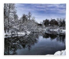 Snowy Ellicott Creek Fleece Blanket