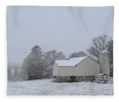 Winter White Farm Fleece Blanket