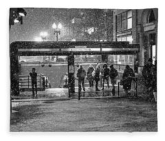 Snowy Harvard Square Night- Harvard T Station Black And White Fleece Blanket