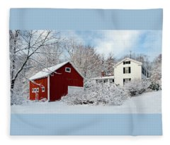 Snowy Homestead With Red Barn Fleece Blanket