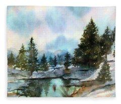 Snowy Lake Reflections Fleece Blanket