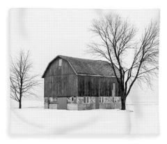 Snowy Little Barn Fleece Blanket